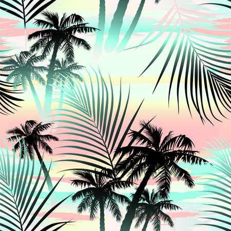 Illustration pour Tropical summer palms seamless pattern . - image libre de droit