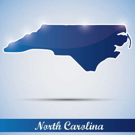 shiny icon in form of North Carolina state, USA