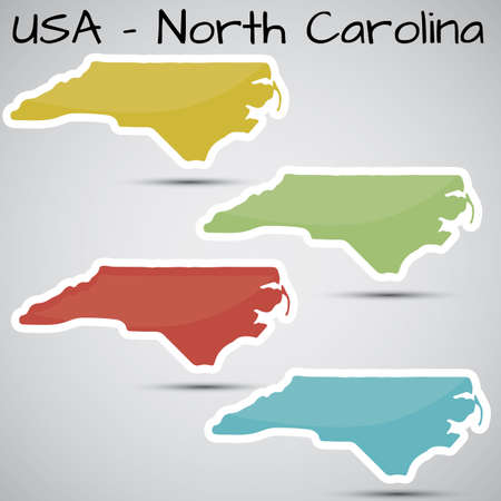 stickers in form of North Carolina state, USA