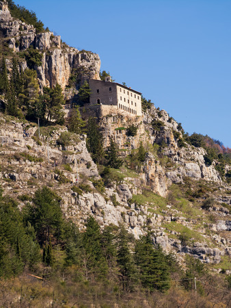 Hermitage of Sant'Onofrio in Morrone perched on the mountain