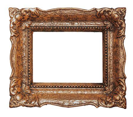 Photo pour Big old copper metal picture frame, isolated on white, design element - image libre de droit