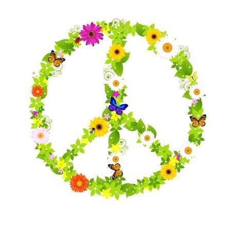 Peace Symbol, Isolated On White Background, Vector Illustration