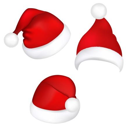 Three Santa Hats, Isolated On White Background, Vector Illustration