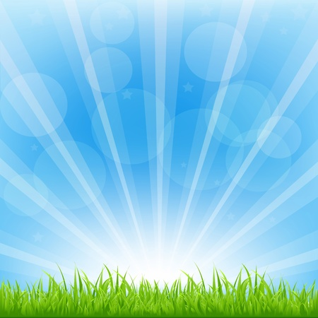 Ilustración de Green Background With Sunburst, Vector Illustration  - Imagen libre de derechos