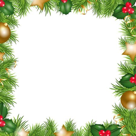Merry Christmas Border, Isolated On White Background, Vector Illustration