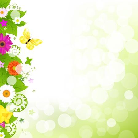 Illustration pour Flower With Grass And Flowers Illustration - image libre de droit