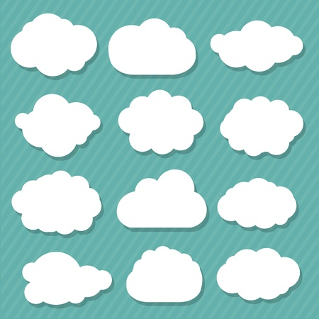 12 Cartoon Clouds, Isolated On Blue Background