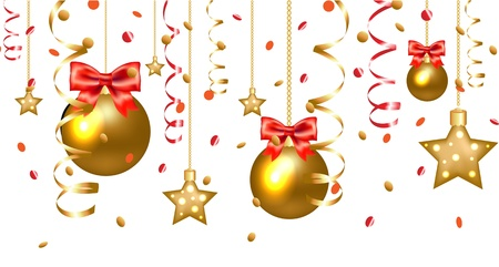 Xmas Stars And Christmas Balls Border Isolated On White Background, With Gradient Mesh