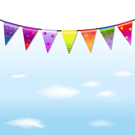 Rainbow Bunting Banner Garland With Blue Sky With Gradient Mesh, Vector Illustration
