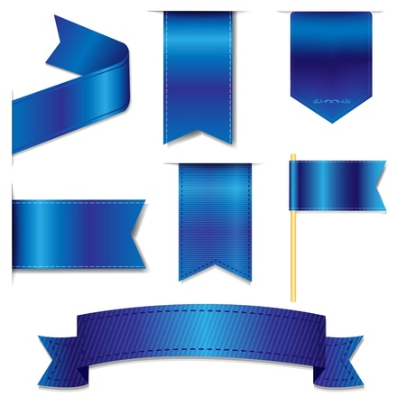 Blue Web Ribbons Set With Gradient Mesh, Vector Illustration