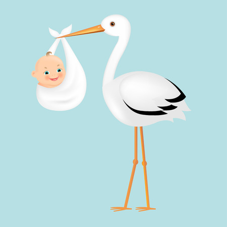 Illustration for Poster Stork With Baby With Gradient Mesh, Vector Illustration - Royalty Free Image