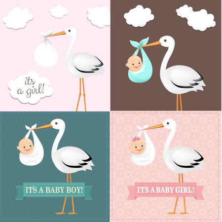 Illustration pour Stork With Baby Set With Gradient Mesh, Vector Illustration - image libre de droit