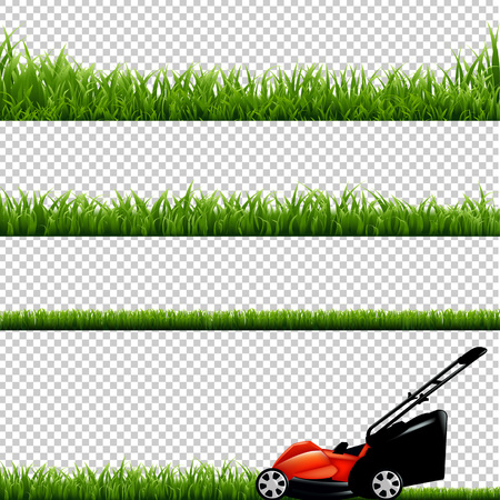 Lawnmower With Green Grass, Isolated on Transparent Background, With Gradient Mesh, Vector Illustration