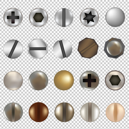 Illustration for Bolts And Screws Big Set, Isolated on Transparent Background, With Gradient Mesh, Vector Illustration - Royalty Free Image