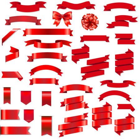 Illustration pour Red Ribbons And Bow Set With Gradient Mesh, Vector Illustration - image libre de droit