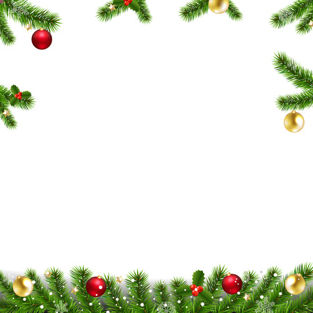 Illustration for Xmas Garlands With Fir Tree And Christmas Toys With Gradient Mesh, Vector Illustration - Royalty Free Image