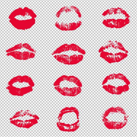 Illustration pour Red Female Lips Lipstick Kiss Print Set Transparent background, Vector Illustration - image libre de droit