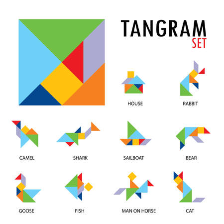 Ilustración de Colorful set of tangram game icons made with geometry shapes in abstract style, includes animal, vector illustration. - Imagen libre de derechos
