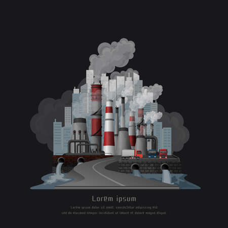 Illustration pour Global warming pollution concept, Urban landscape smoked polluted atmosphere from emissions of factories, view of pipes with smoke and residential city. vector and illustration. - image libre de droit