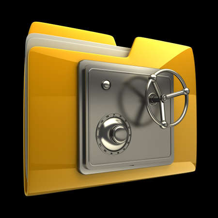 Photo pour 3d illustration of folder icon with security lock dial isolated on black background High resolution 3D - image libre de droit