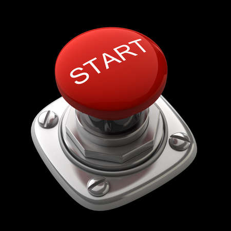 Red START button Isolated High resolution. 3D image