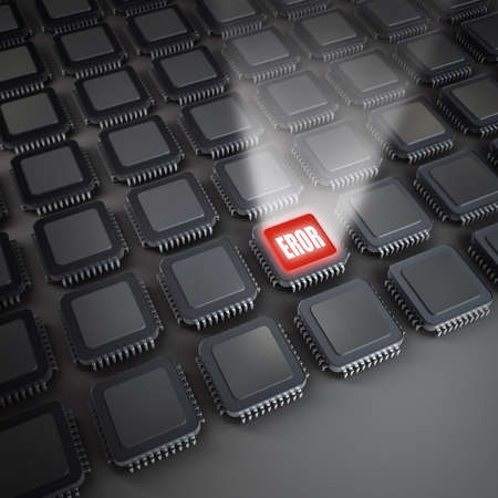Many electronic Processor unit CPU. Electronic background. 3D
