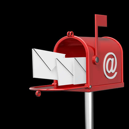 Mailbox with flying letters isolated on black background High resolution 3d render