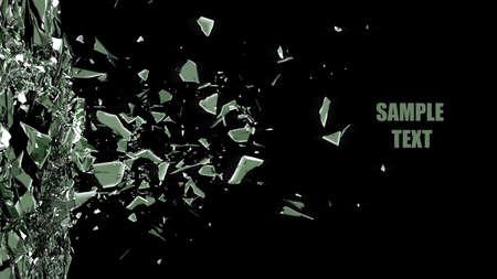 broken glass background isolated on black. High resolution 3d render