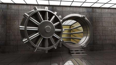 Photo pour Big safe door with Gold ingots. High resolution 3D image - image libre de droit