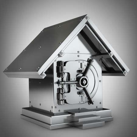 Photo pour Bank Safe in form houses High resolution 3d render  - image libre de droit