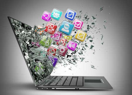Foto de Computer mobility. laptop with color application icons High resolution 3d render  - Imagen libre de derechos