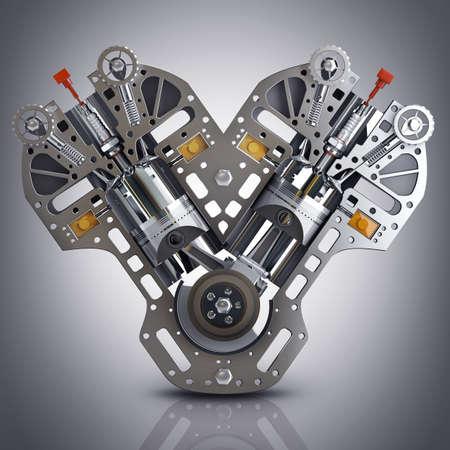 V8 Car engine. Concept of modern car engine. High resolution 3d render