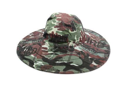 Military khaki hat isolated on white background