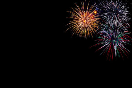 Photo for Fireworks on a black background With space - Royalty Free Image