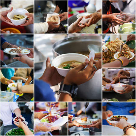 Photo pour Collage The hands of the poor receive food from volunteers : volunteers giving food to poor people in desperate need - image libre de droit
