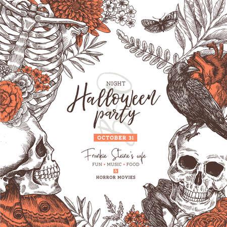 Illustration pour Halloween vintage party invitation. Halloween design template. Vector illustration - image libre de droit