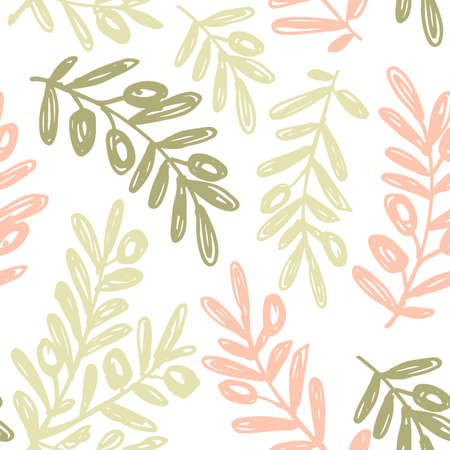 Olive branch background. Sketchy style olive illustration. Seamless pattern. Vector illustration