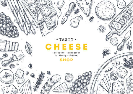 Ilustración de Cheese collection top view illustration. Antipasto table background. Engraved style illustration. Hero image. Vector illustration - Imagen libre de derechos