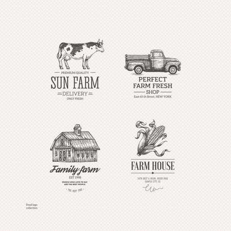 Illustration pour Vintage farm food logo collection. Engraved logo set. Vector illustration - image libre de droit