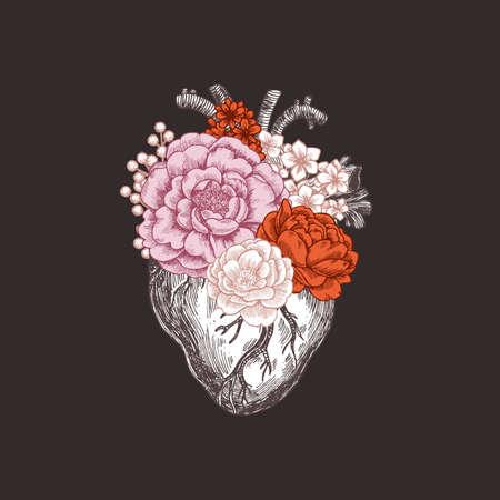 Illustration pour Tattoo anatomy vintage illustration. Floral romantic anatomical heart. Vector illustration - image libre de droit