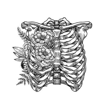 Ilustración de Tattoo anatomy vintage floral illustration. Floral chest skeleton. Vector illustration - Imagen libre de derechos