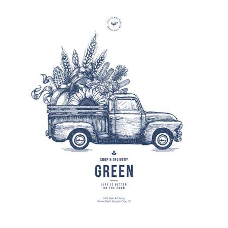Ilustración de Farm fresh delivery design template. Classic vintage pickup truck with organic vegetables. Vector illustration - Imagen libre de derechos