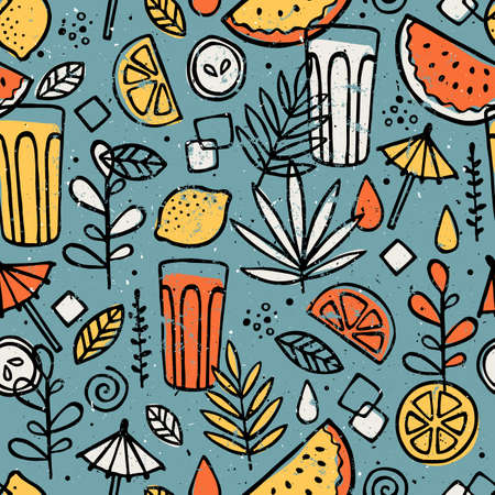 Illustration for Fresh lemonade seamless pattern. Fun drinks background. Vector illustration. - Royalty Free Image