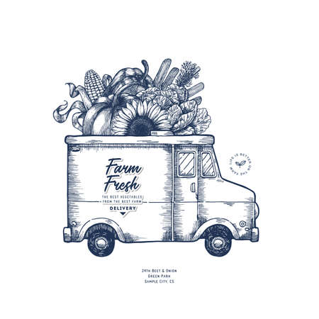 Farm fresh delivery design template. Classic food truck with organic vegetables. Vector illustration