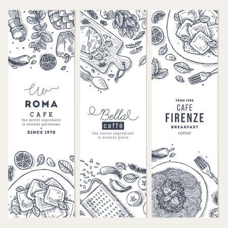 Ilustración de Italian food vertical banner set. Spagetti and ravioli. Engraved style illustration. Hero image. Vector illustration - Imagen libre de derechos