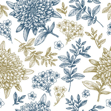 Illustration for Floral seamless pattern. Linear sketchy style flower elements. - Royalty Free Image