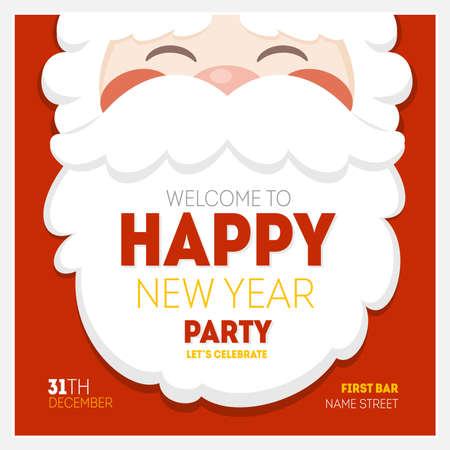 Illustration pour Santa Christmas New Year Greeting Card - image libre de droit