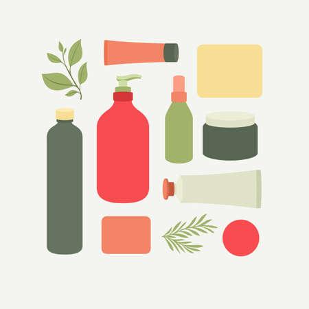 Illustration pour Organic cosmetic packaging. Cosmetics collection. Vector illustration - image libre de droit