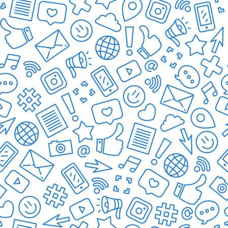 Ilustración de Social media minimalist seamless pattern. Internet messenger background. Vector illustration - Imagen libre de derechos