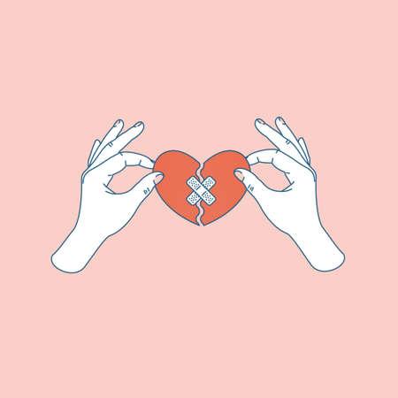 Ilustración de Woman hand holding repaired broken heart. Fixed broken heart. Vector illustration - Imagen libre de derechos